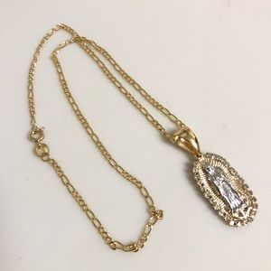18k gold plated necklace and charm